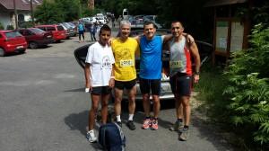 Az ózdi futók. Balról jobbra Demeter Mihály, Vanczák Attila, Vitális István (ÓKE) és Nagy Róbert